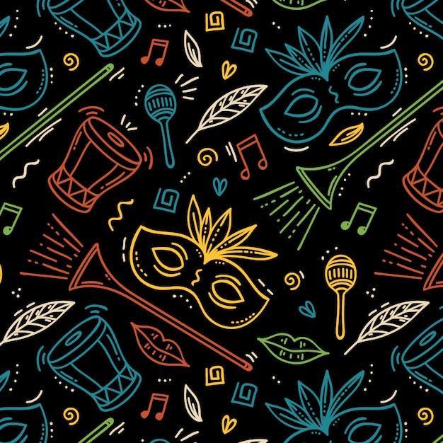 Ручной обращается бразильский карнавал с музыкальными инструментами и масками Бесплатные векторы