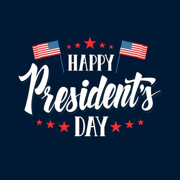 Надпись президентского дня с флагами Бесплатные векторы