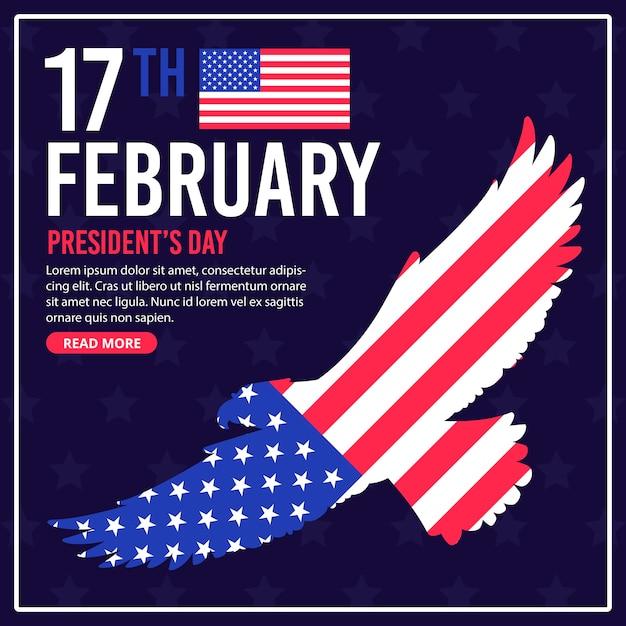 Президентский день с флагом и орлом Бесплатные векторы