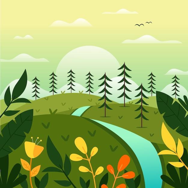 Весенний пейзаж с деревьями и рекой Бесплатные векторы
