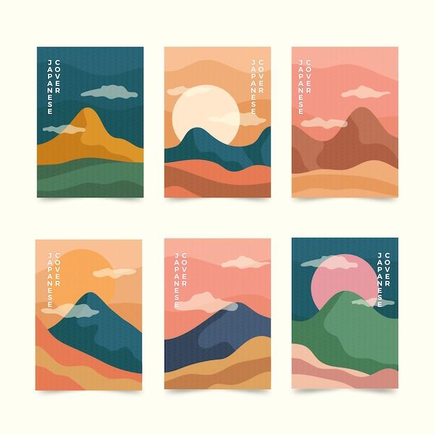 Простая японская коллекция обложек Бесплатные векторы