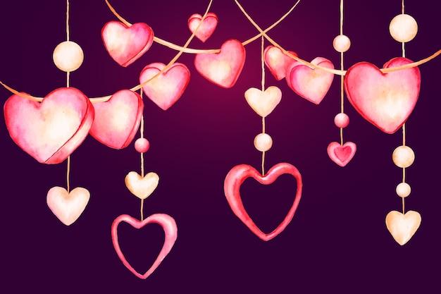 心をぶら下げと水彩のバレンタインデーの背景 無料ベクター