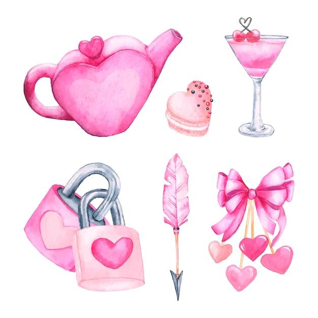 水彩バレンタインデー要素コレクション 無料ベクター
