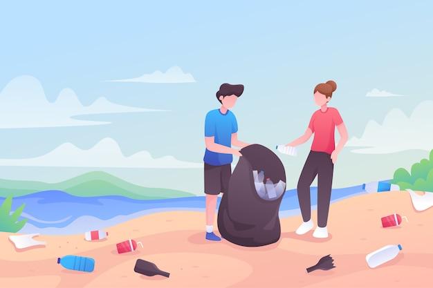 一緒にビーチを掃除する人々 無料ベクター
