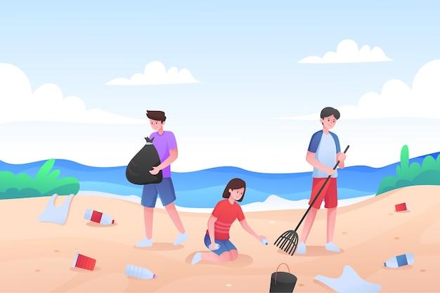 一緒にビーチの清掃人のイラスト 無料ベクター