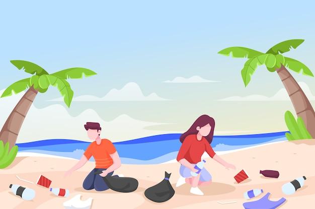 一緒にビーチを掃除する人のイラスト 無料ベクター