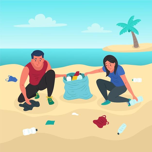 Летнее время и люди, чистящие пляж Бесплатные векторы