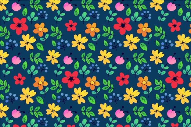 エキゾチックな葉と花の頭が変なループパターン背景 無料ベクター
