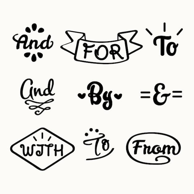 Лозунг и коллекция амперсандов Бесплатные векторы