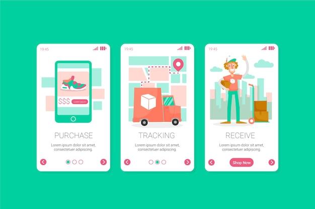 オンラインのオンボーディングアプリ画面を購入する 無料ベクター