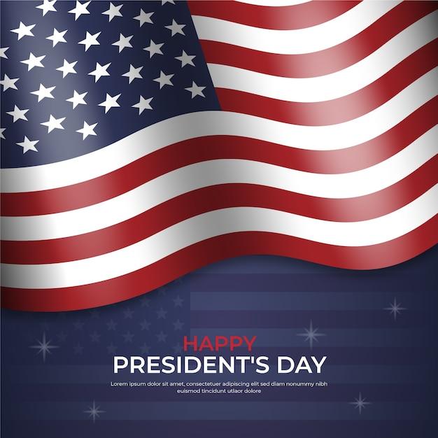 現実的な旗と星との幸せな大統領の日 無料ベクター