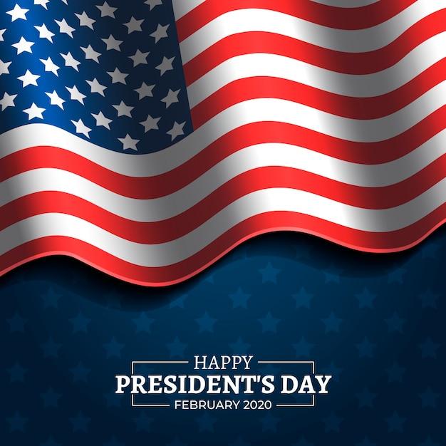 テキスト付きの大統領の日の旗 無料ベクター