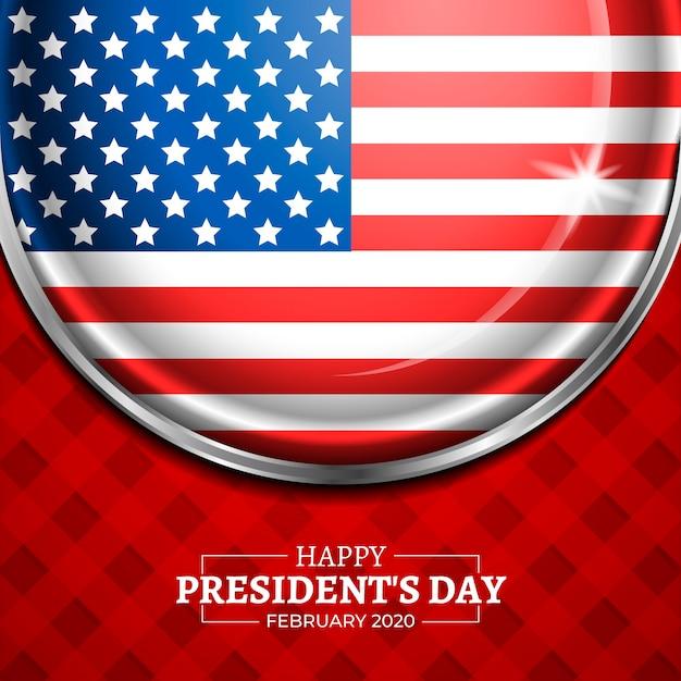 レタリングと大統領の日の旗 無料ベクター