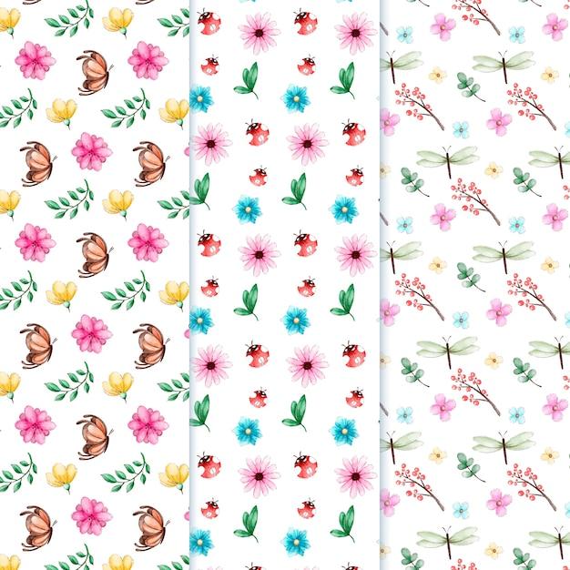 水彩春パターンコレクション 無料ベクター