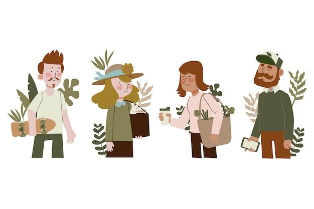 Зеленый образ жизни людей Бесплатные векторы