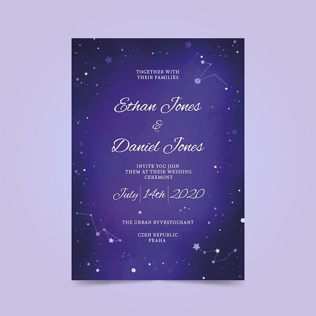 水彩銀河の結婚式の招待状 無料ベクター