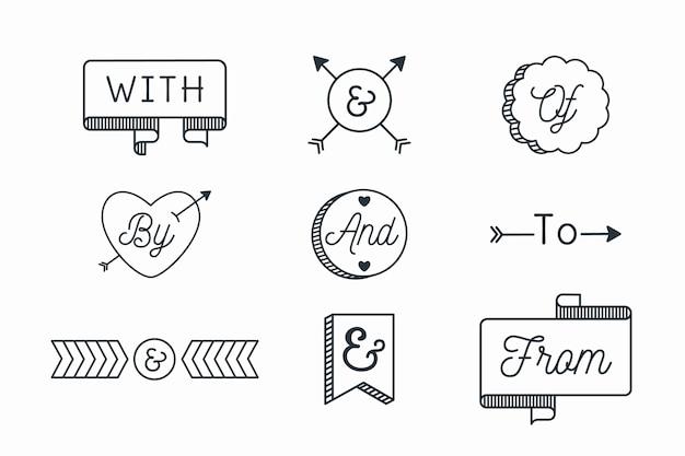 Лозунг и коллекция амперсанд на белом фоне Бесплатные векторы