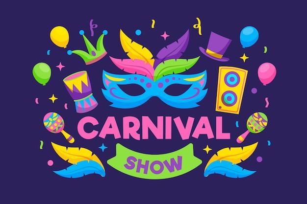 羽と音楽の幸せな祭りとカラフルなマスク 無料ベクター
