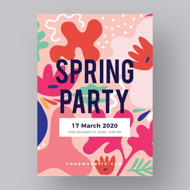 抽象的な春パーティーポスターテンプレート 無料ベクター