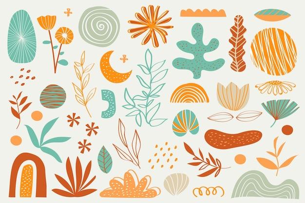 Различные цветы и растения органических форм фона Бесплатные векторы