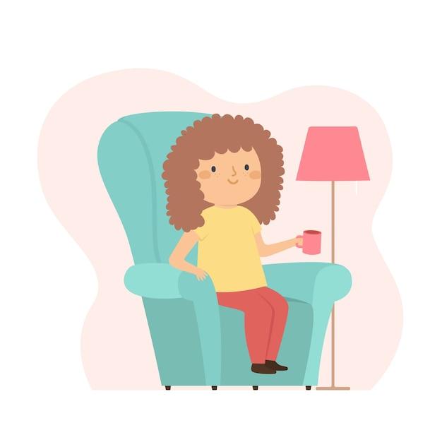Женщина с вьющимися волосами пьет кофе у себя дома Бесплатные векторы