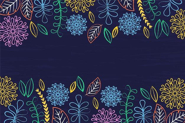 黒板手描き背景の花 無料ベクター
