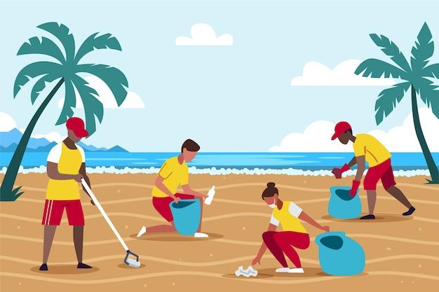 ビーチの清掃人のイラスト 無料ベクター
