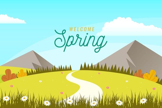 平らな春の風景 無料ベクター