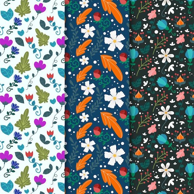 さまざまな花と葉の春のシームレスパターン 無料ベクター