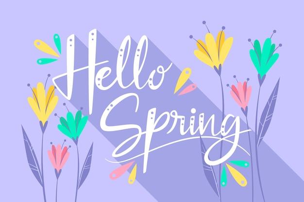 色とりどりの花でこんにちは春レタリング 無料ベクター