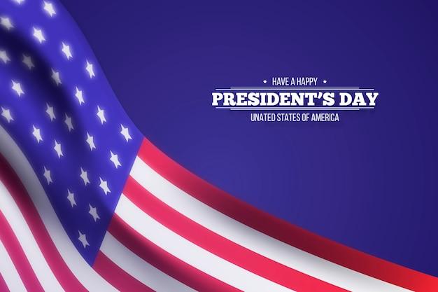 Счастливый президентский день с реалистичным размытым флагом Бесплатные векторы