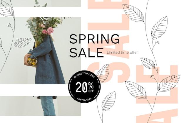 Весенняя распродажа с мужчиной, держащим букет цветов Бесплатные векторы