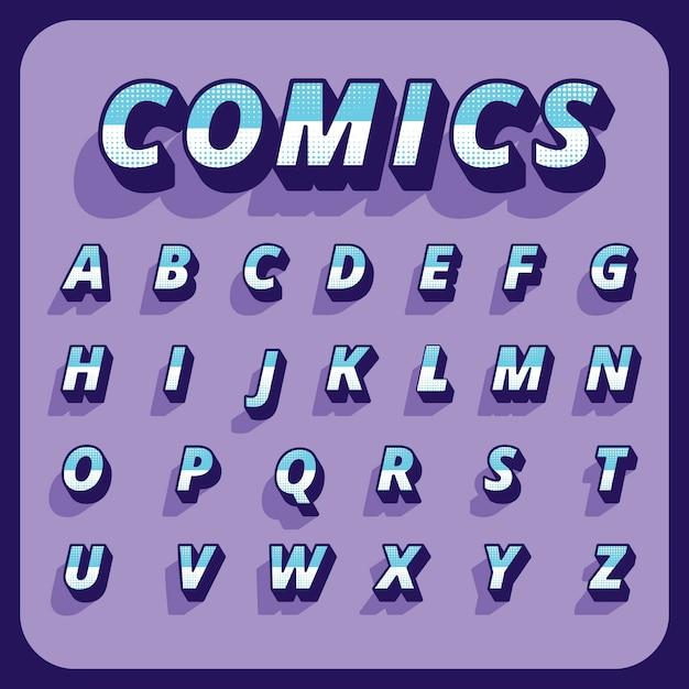 Трехмерный комический алфавит Бесплатные векторы