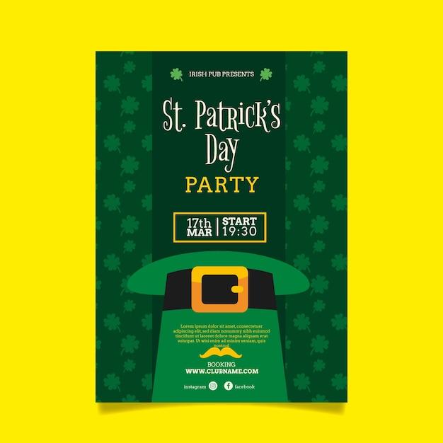 Шаблон флаера дня святого патрика в плоском дизайне Бесплатные векторы