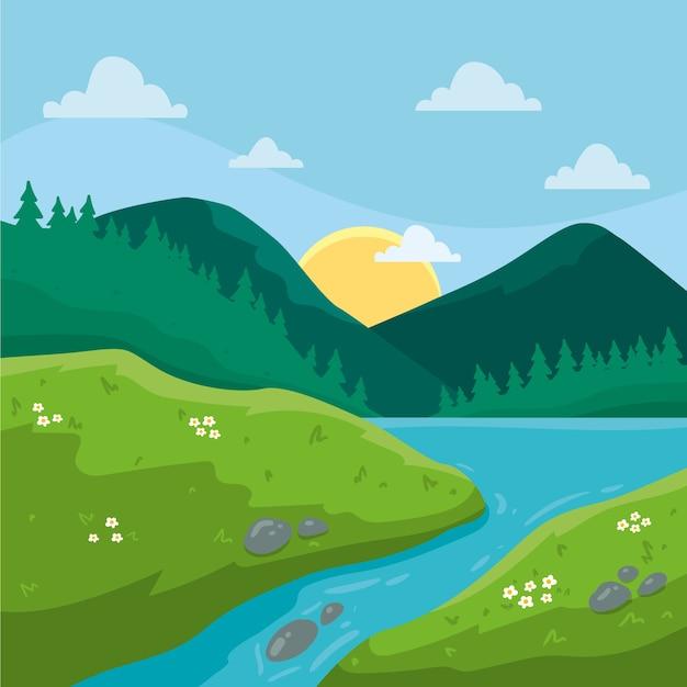 Ручной обращается весенний пейзаж с горами и рекой Бесплатные векторы