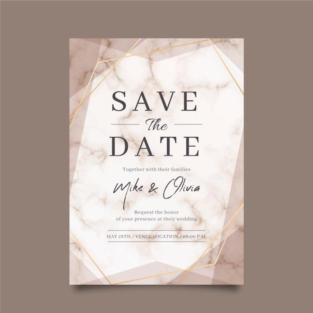 Свадебная мраморная открытка Бесплатные векторы