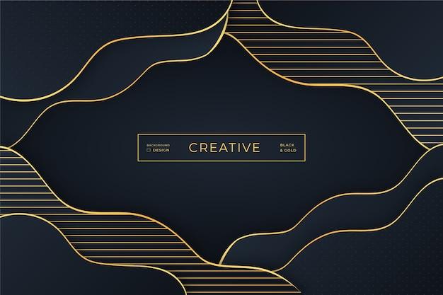 黄金の曲線と暗い色合いの背景 無料ベクター