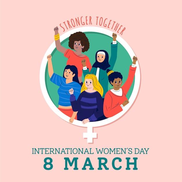 Международный женский день сильнее вместе Бесплатные векторы
