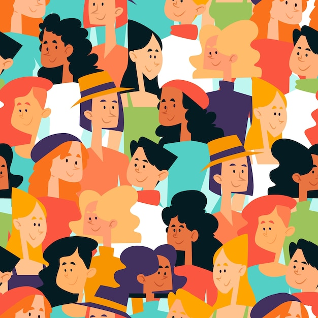 群衆の中に女性の顔とのシームレスなパターン 無料ベクター