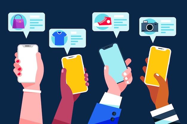 Концепция мобильного телефона маркетинга в социальных сетях Бесплатные векторы