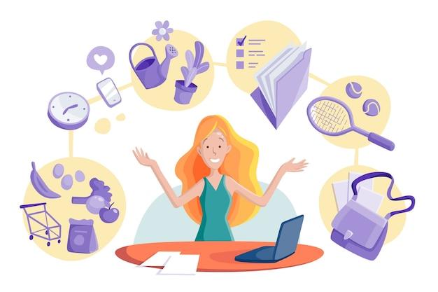 Иллюстрация концепции многозадачности женщины Бесплатные векторы