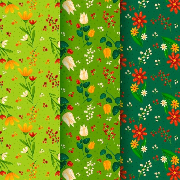 フラットなデザインの春パターンコレクションコンセプト 無料ベクター