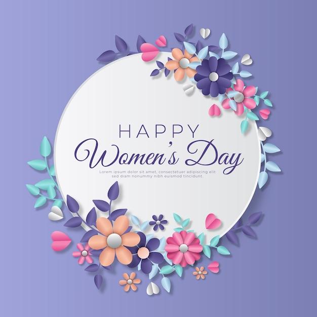 Женский день в бумажном стиле с цветами Бесплатные векторы
