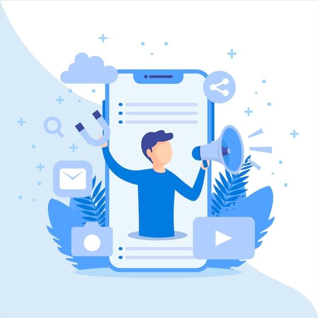 Концепция маркетинга в социальных сетях Бесплатные векторы