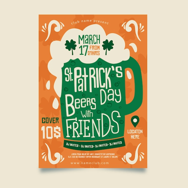 День святого патрика пиво с друзьями плакат Бесплатные векторы