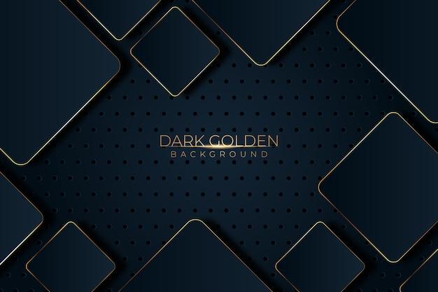 黒い影と黄金の詳細の背景を持つ正方形 無料ベクター