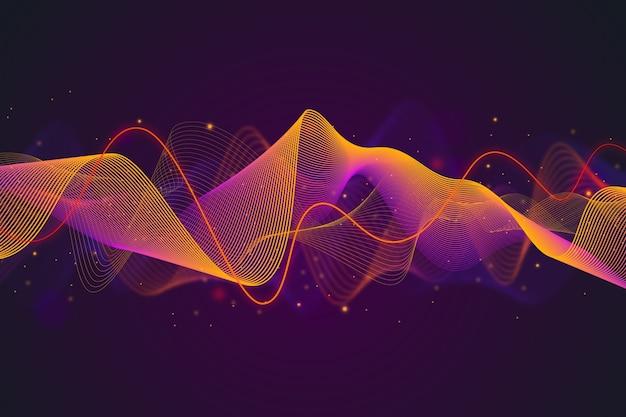 Градиент фиолетовый и оранжевый эквалайзер волновой фон Бесплатные векторы
