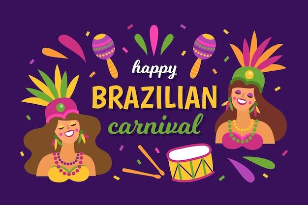 女性と楽器を持つフラットなデザインのブラジルのカーニバル 無料ベクター