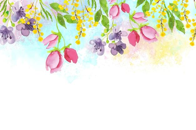 水彩素敵な春の壁紙 無料ベクター