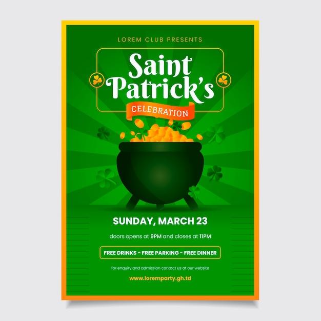 Плакат или флаер на день святого патрика с монетами в котле Бесплатные векторы